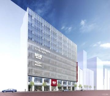 東京・銀座に開業する「MUJI HOTEL GINZA」と無印良品の旗艦店の外観イメージ