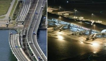 左はタンカー衝突事故の影響で橋桁の一部が撤去されたままになっている関西空港連絡橋=2018年10月3日午後(共同通信社ヘリから)、右は台風21号に伴う高潮で滑走路や施設が浸水した関西空港=9月4日