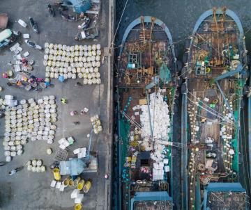 豊漁に沸く漁港の国慶節 福建省石獅市
