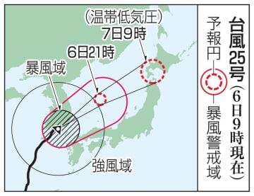 台風25号の予想進路(6日9時現在)