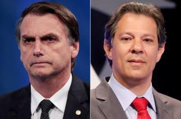 ブラジル大統領選の世論調査で首位のボルソナロ候補(左)と2位のアダジ候補(ロイター=共同)