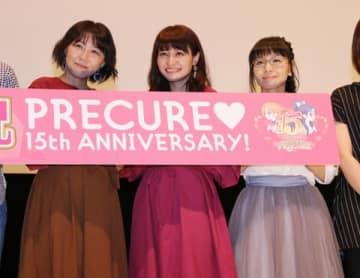 「『プリキュア』感謝祭上映会 vol.4」に登場した(左から)生天目仁美さん、中島愛さん、嶋村侑さん