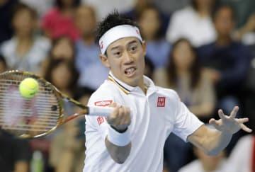 シングルス決勝でダニル・メドベージェフに敗れた錦織圭=武蔵野の森総合スポーツプラザ