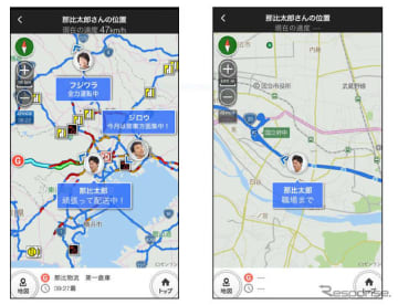 実際に走行しているルート情報(左)と走行軌跡(右)を共有できる