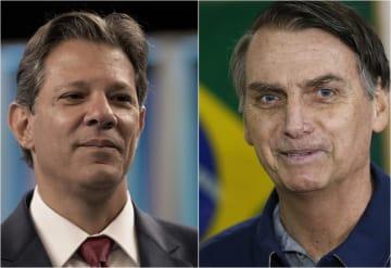 ブラジル大統領選で決選投票に進むことが決まったボルソナロ氏(右)とアダジ氏(AP=共同)