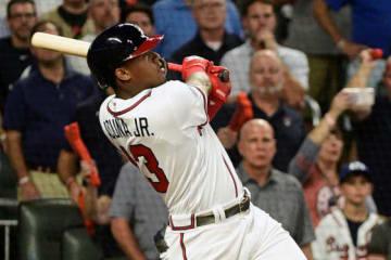 満塁アーチを放ったブレーブスのロナルド・アクーニャJr.【写真:AP】