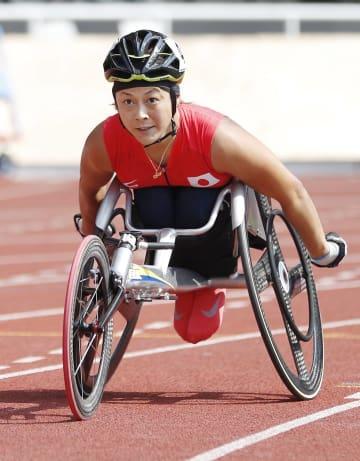女子800メートル(車いすT53) 力走する中山和美=ジャカルタ(共同)