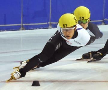 男子1000メートルを制した吉永一貴=帝産アイススケートトレーニングセンター