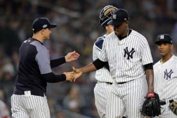 4回途中6失点でKOされたヤンキースのルイス・セベリーノ【写真:Getty Images】