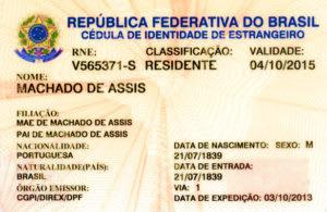 外国人身分証明書(CRNM)の参考写真(ブラジル外務省サイトより)