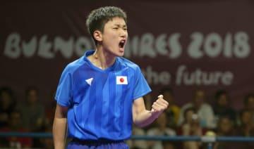 卓球男子シングルス決勝でガッツポーズする張本智和=ブエノスアイレス(OIS提供・共同)