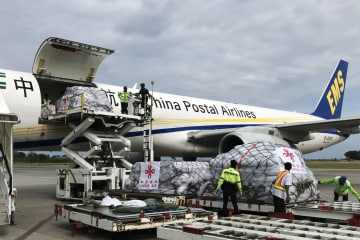 中国政府の人道援助物資第1陣、インドネシア到着