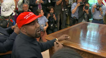 Kanye West visits White House, Trump praises rapper