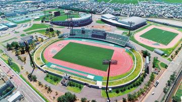 福井運動公園=福井県福井市加茂河原町上空から日本空撮・小型無人機ドローンで撮影