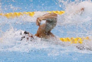 男子50メートル自由形(視覚障害S11)決勝 優勝した木村敬一=ジャカルタ(共同)