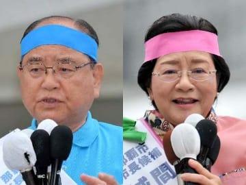 それぞれの出発式で支持を訴える(左から)翁長政俊氏と城間幹子氏