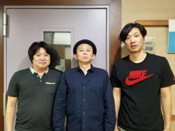 左から和賀勇介、有吉弘行、イノシシ太郎