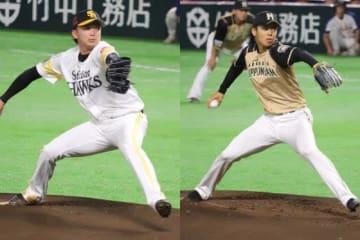 先発したソフトバンク・東浜巨と日本ハム・杉浦稔大(左から)【写真:編集部】