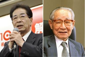 2012年12月衆院選で敗戦の弁を語る元官房長官の仙谷由人氏(左)、1999年撮影、元副総理の後藤田正晴氏(右)