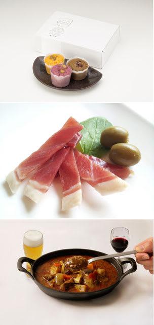 「ココロかるかん」(写真上)「まぼろしレストランのレアジャーキー」(同中)「お酒に合う 宮崎牛と菊芋のハーブ香るスープカレー」(同下)