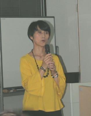 講演する一般社団法人ベジフード協会理事の今村明子さん