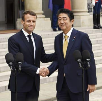 日仏首脳会談 日仏 首脳 安倍 マクロン 大統領 フランス パリ 中国 ヨーロッパ