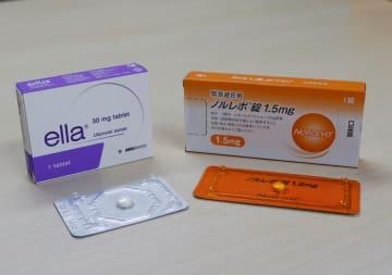 日本で承認されている「ノルレボ錠」(右)と、久住医師が個人輸入した「エラ錠」(左)。ノルレボは72時間、エラは120時間以内に服用することが求められている