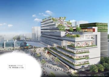 2020年秋の開業を目指すJR宮交ツインビルのうち、駅前ビルの外観イメージパース(宮崎交通・JR九州提供)