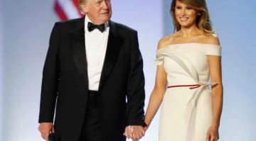 WASHINGTON, DC - JANUARY 20: President Donald Trump and first lady Melania Trump arrive at the Freedom Inaugural Ball at the Washington Convention Center January 20, 2017 in Washington, D.C. President Trump was sworn today as the 45th U.S....