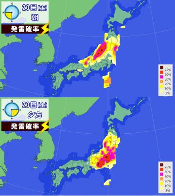 20日朝と夕方の雷の発生確率
