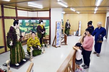 色とりどりの菊花を使った菊人形=吉野川市役所