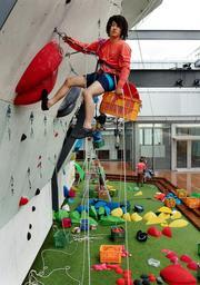 ホールドを壁に取り付けてクライミングのコースを作る一宮大介さん=いずれも神戸市中央区雲井通7、「グラビティリサーチ ミント神戸」