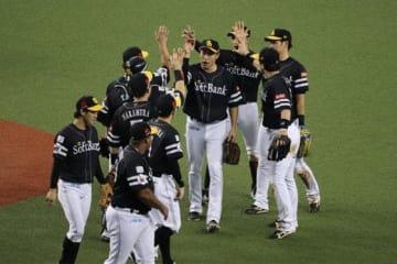 3連勝で、2年連続の日本シリーズ進出を決めたソフトバンク【写真:福谷佑介】