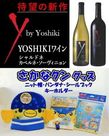 総務省から「地場産品以外」とされた館山市の返礼品「YOSHIKIワイン」(写真上)と「さかなクングッズ」(同下)