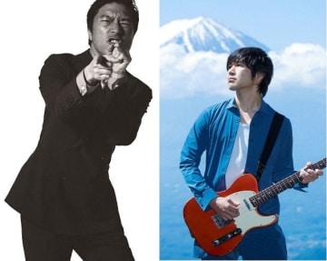 昭和音大でライブと講義を行うトータス松本さん(左)と藤巻亮太さん(昭和音大提供)