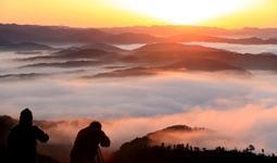 日の出直後、あかね色に染まる朝霧=22日朝、兵庫県佐用町の大撫山展望台から