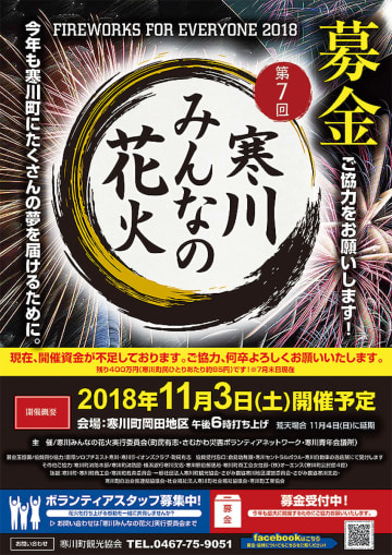 11月3日「寒川みんなの花火」予定通り開催 資金調達「あとわずか」
