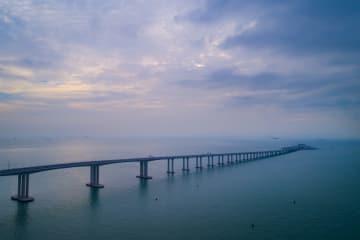 空から見た港珠澳大橋の香港区間