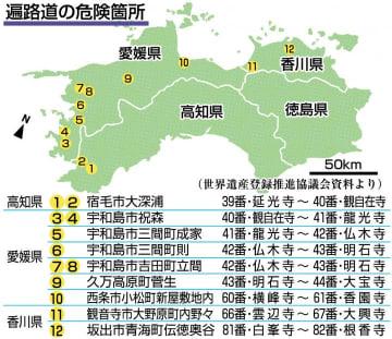 遍路道、通行危険12ヵ所 西日本豪雨、台風相次ぎ 大半が復旧めど立たず