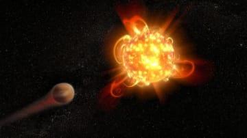赤色矮星が放つフレアが公転する惑星の大気に影響を及ぼす想像図 (c) NASA, ESA and D. Player (STScI)