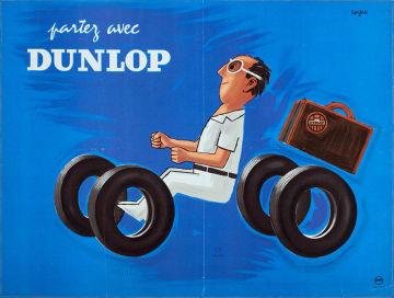 「ダンロップで出発」1953年ポスター(リトグラフ・紙)パリ市フォルネー図書館蔵 ©Annie Charpentier 2018