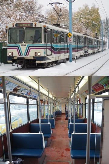 (上)カナダ・カルガリーのCトレインの初代型車両「デュワグU2」、(下)「デュワグU2」の車内=いずれも18年10月