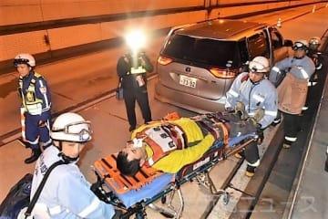 関越トンネルでの事故を想定した訓練