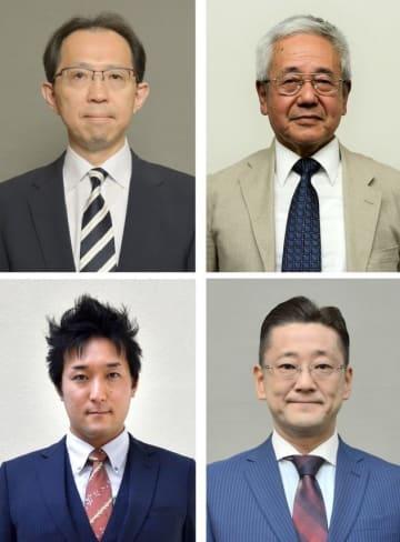 福島県知事選立候補者(左上から時計回りで)内堀雅雄氏、金山屯氏、町田和史氏、高橋翔氏