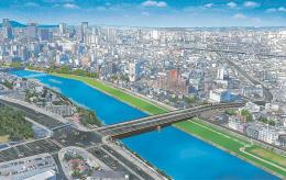 新宮沢橋の完成イメージ。宮沢橋交差点(左手前)の十字路は変形が解消され、仙台駅東に続く都市計画道路に接続する