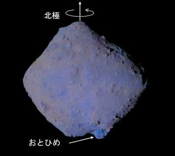 探査機はやぶさ2の観測結果から分析した小惑星りゅうぐうの色味。南極にある巨大岩のおとひめ(下の矢印の部分)は青みが強い(JAXA・東京大など提供)