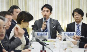 自民党の厚労部会に出席した小泉進次郎部会長(右から2人目)=29日午前、東京・永田町の党本部