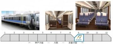 有料座席車両の外装・内装イメージと車両位置。(画像: JR西日本の発表資料より)