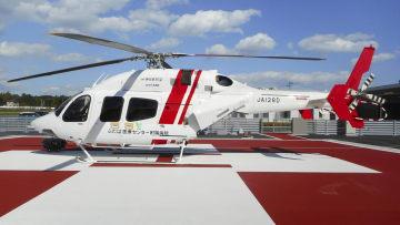 福島県沿岸部で患者や医師の搬送に使う多目的医療用ヘリ=29日、福島県富岡町(福島県提供)