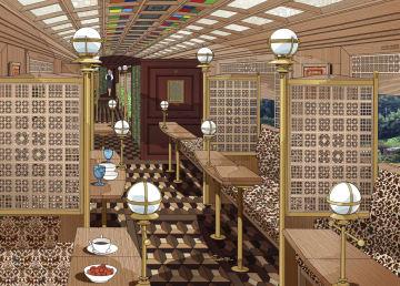 福岡県の第三セクター「平成筑豊鉄道」が運行する観光列車「ことこと列車」の内装イメージ(ドーンデザイン研究所提供)